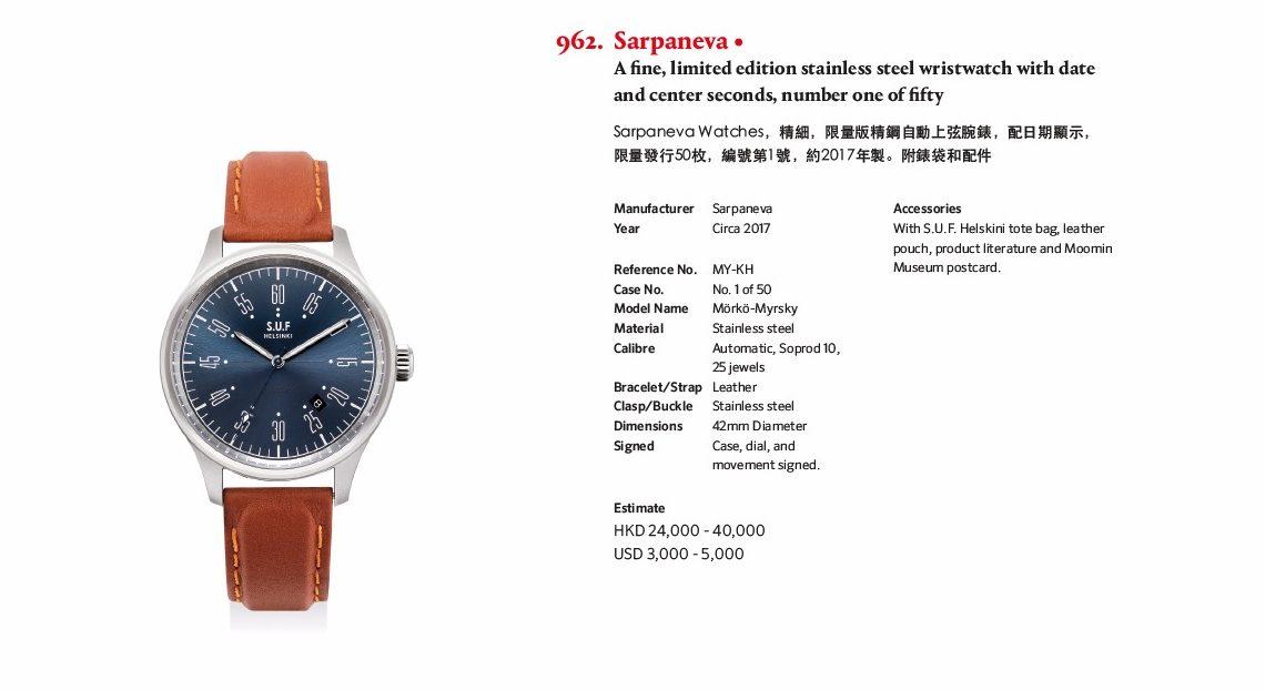 """""""Mörsky nro 1"""" huutokaupataan 29.5. Phillips Watches huutokaupassa Hong Kongissa"""